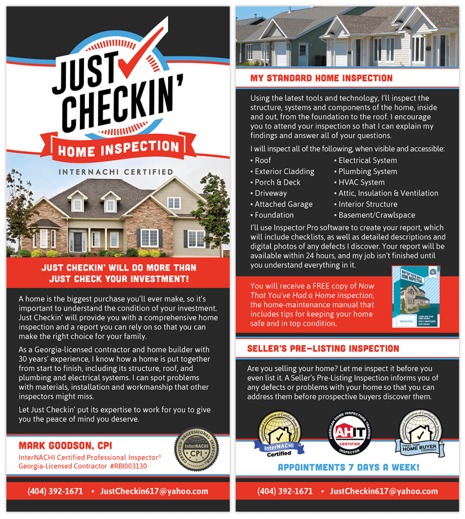 Just Checkin Home Inspection Rack Card Home Inspection Inspect Home Inspector