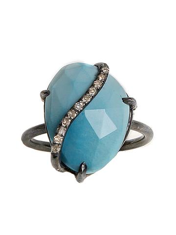 Turquoise and Diamond Swirl Ring designed by Aroc Urtu