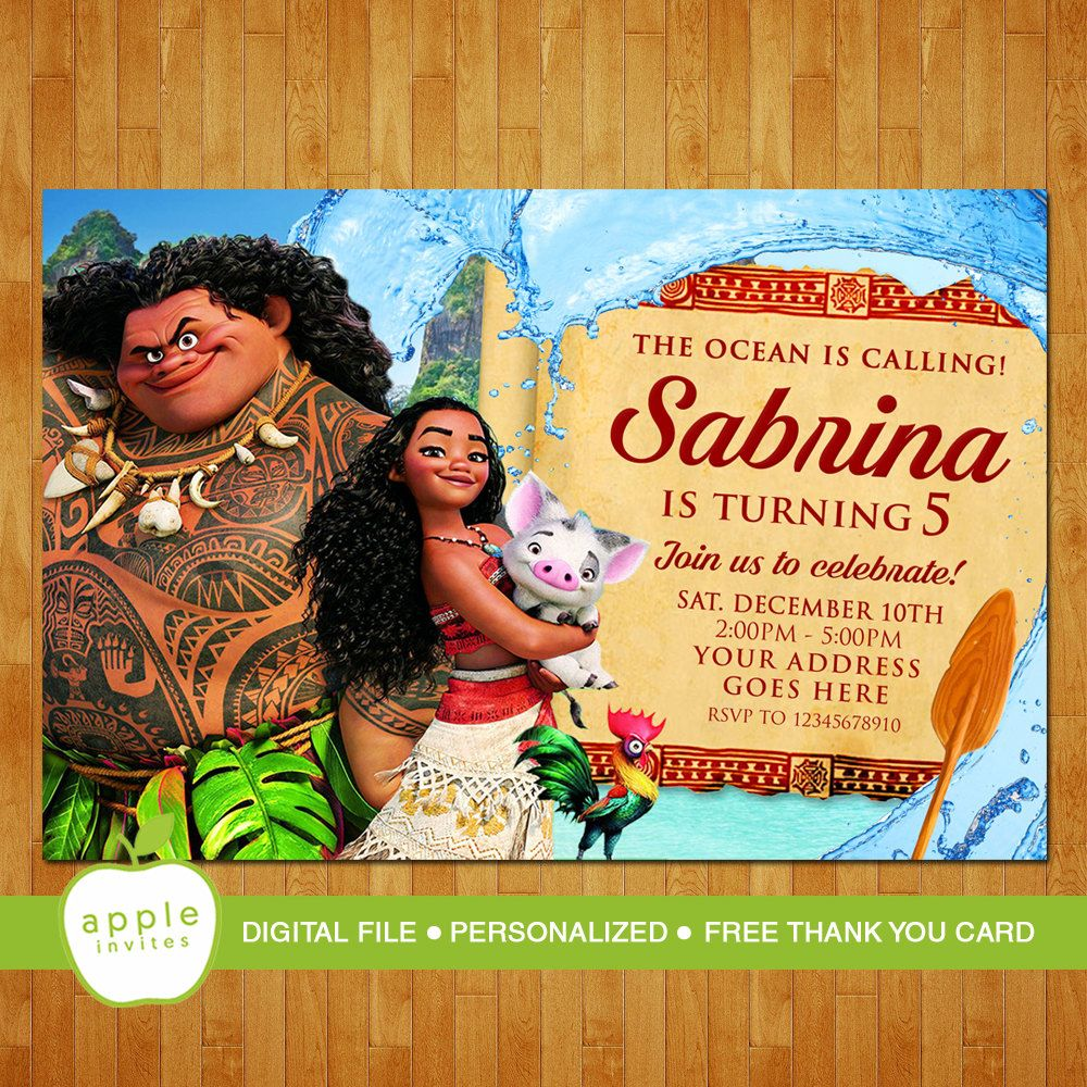 Moana Invitation Card Layout - Best Custom Invitation Template | PS Carrillo