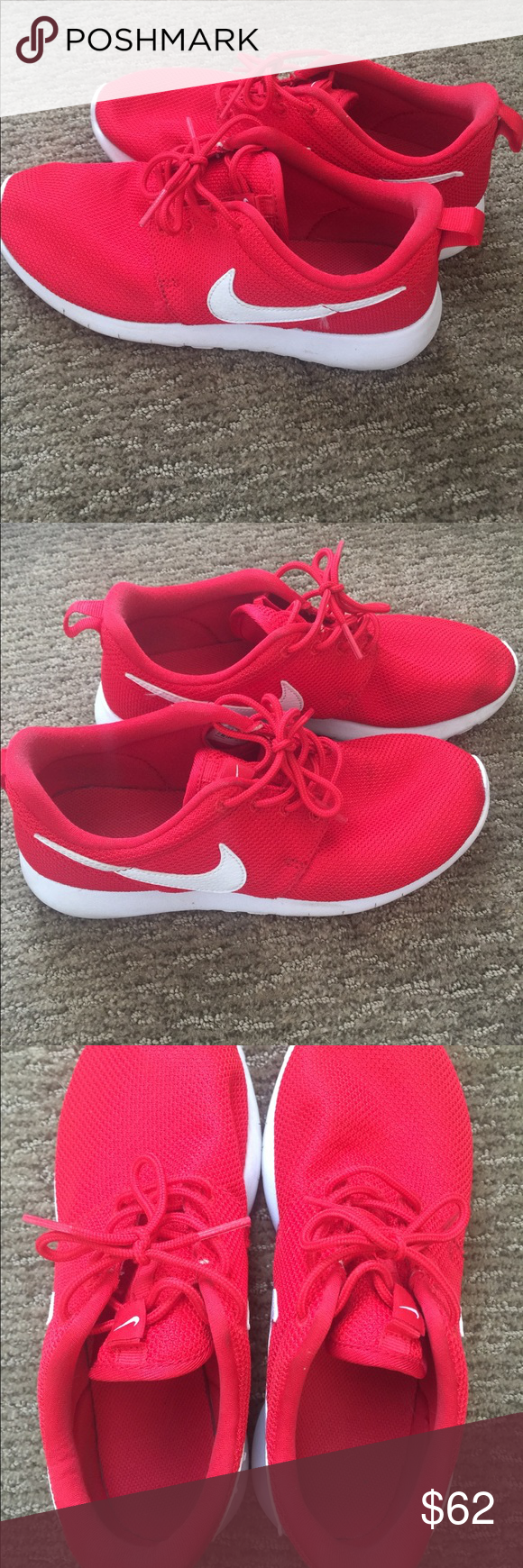 sports shoes 1901d 2a7b5 Nike Roshe Run Red Nike Roshes, worn a couple times! Youth size 5.5,  women s size 7. Nike Shoes Athletic Shoes