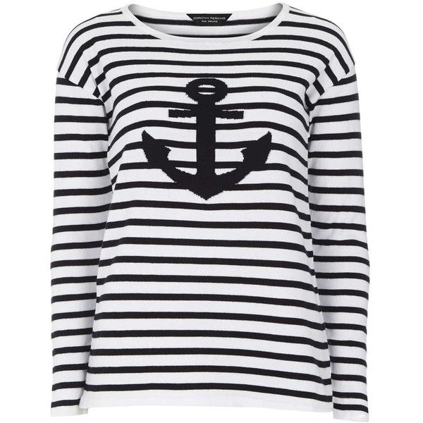 Dorothy Perkins Ivory and Navy Anchor Jumper ($25) ❤ liked on Polyvore featuring tops, sweaters, blue, navy jumper, jumper top, navy blue jumper, jumpers sweaters и anchor top