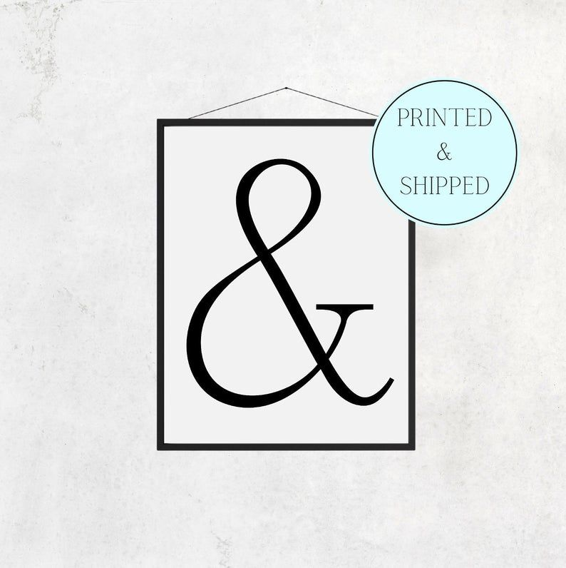 And Print Ampersand Print & Print Letter Print Simple And   Etsy
