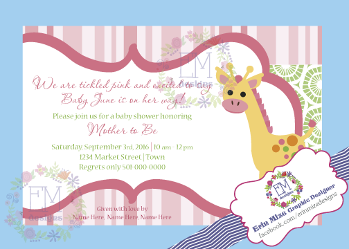 Tickled pink baby shower invitation. I would love to help you custom design one! Like me on facebook to learn more. www.facebook.com/erinmizedesigns