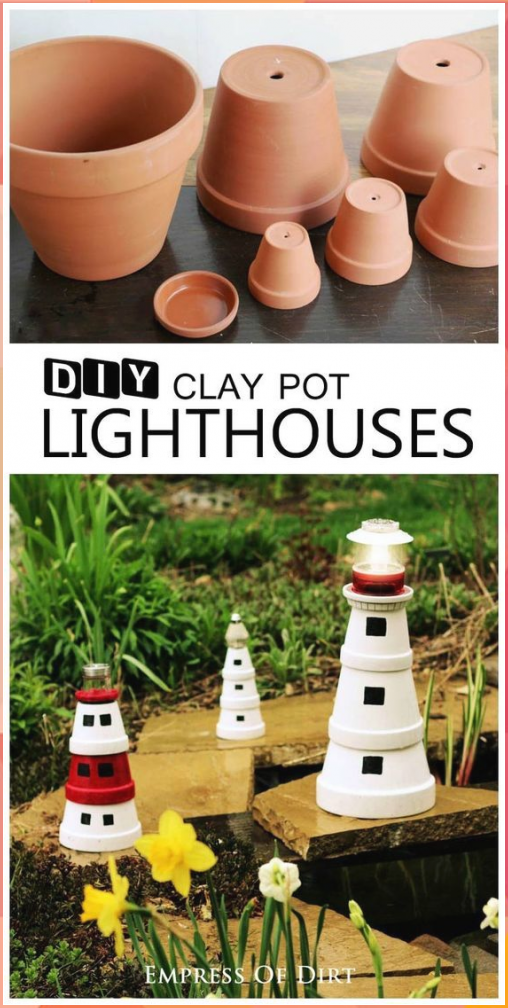 Make a Garden Art Lighthouse from Clay Pots | Empress of Dirt #Make #Garden #Art #Lighthouse #from #Clay #Pots #Empress #Dirt