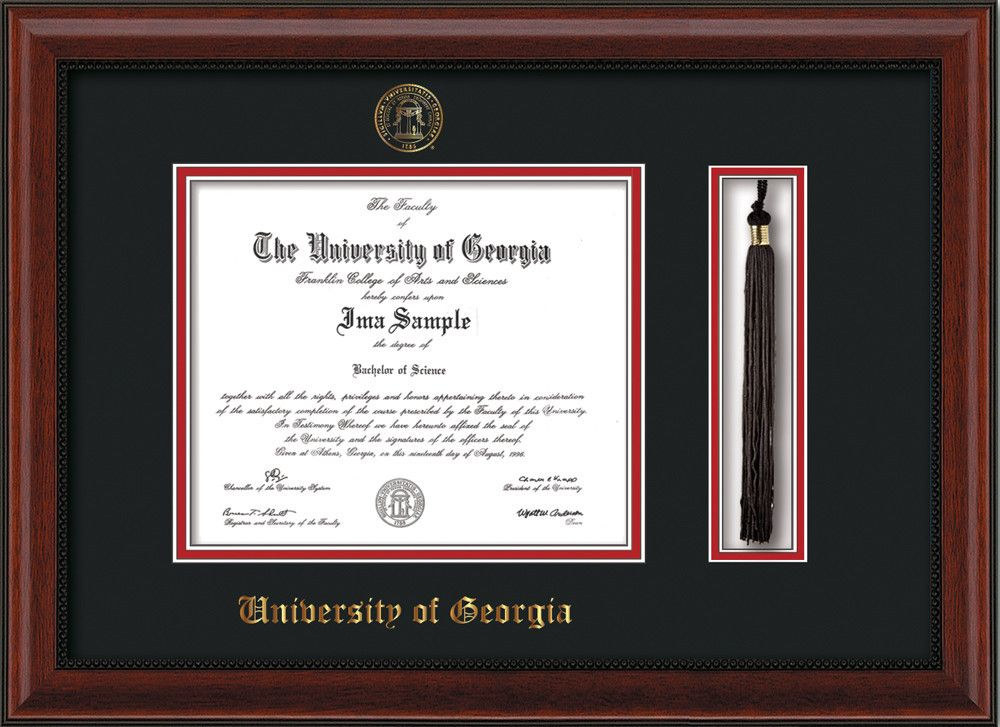 Uga Diploma Frame Mahogany Bead Seal Tassel Black Red Diploma Frame University Of Georgia Embossed Seal