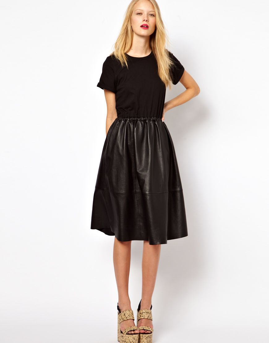 Midi Dress With Leather Skirt And Jersey Top | style. | Pinterest ...