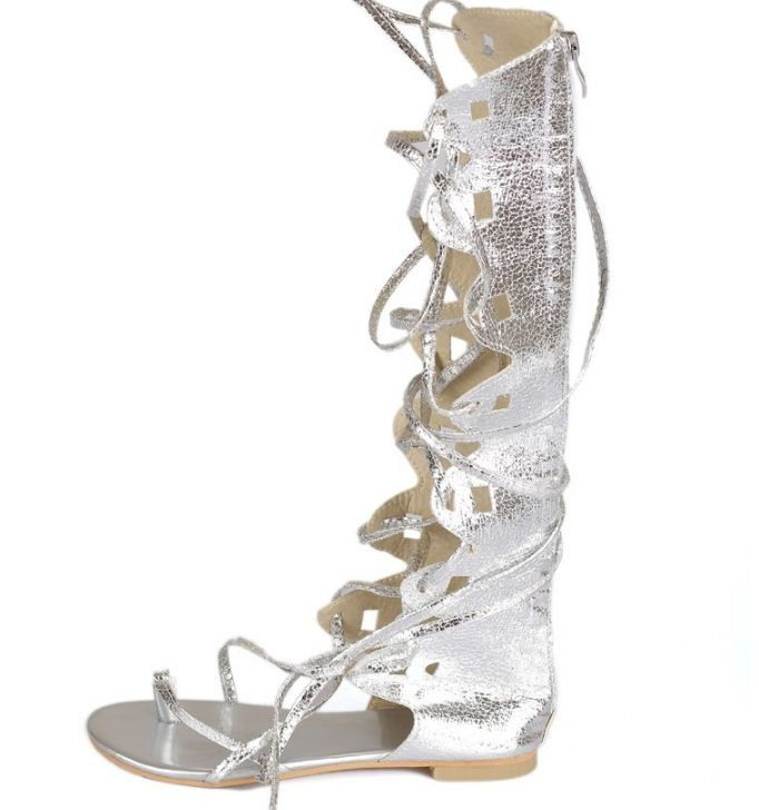 Cute Cut Out Cross Strap Women Knee High Sandals