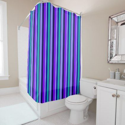 Ocean Blues Amp Purples Stripes Shower Curtain Home Decor