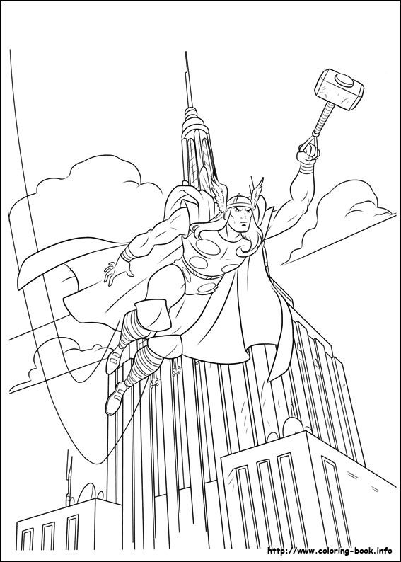 Thor coloring picture | Coloring for kid。 | Pinterest | Cartoon