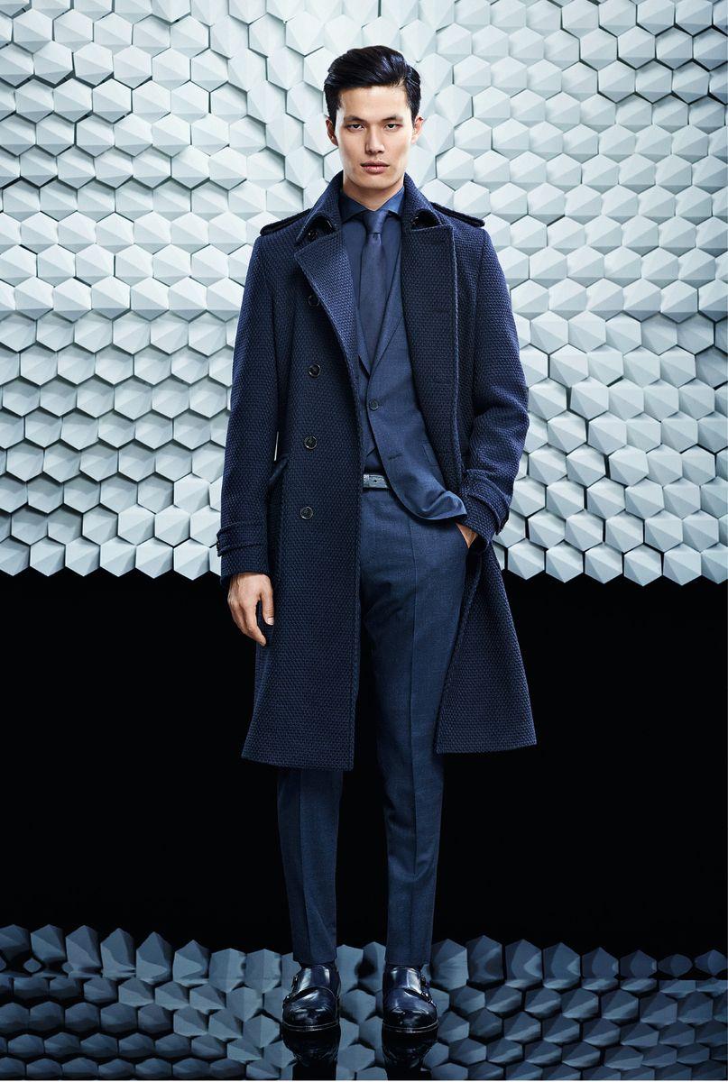 Men's Navy Overcoat, Navy Suit, Navy Dress Shirt, Black Leather ...
