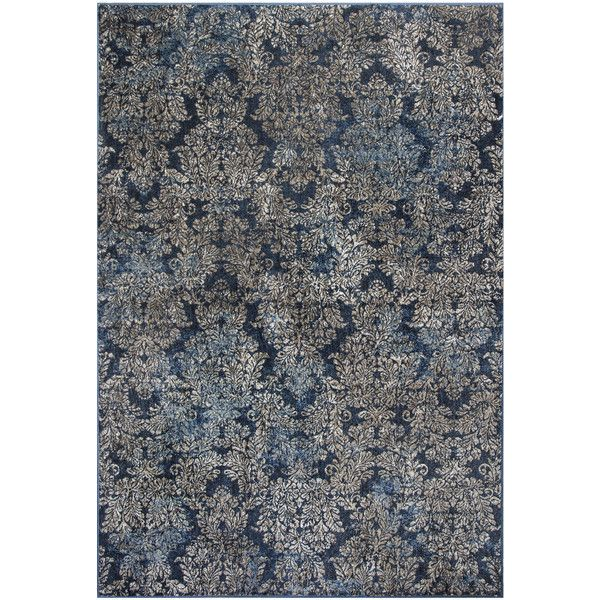 kas rugs slate blue damask provence rug (£295) ❤ liked on