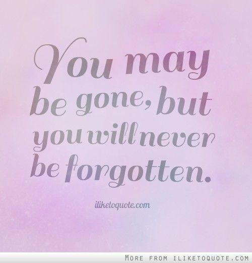 You May Be Gone But You Will Never Be Forgotten Quotes