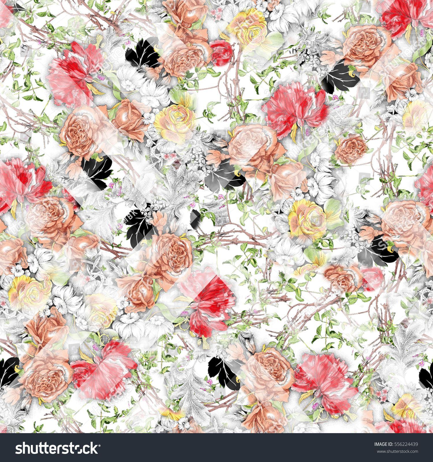 Seamless Raster Pattern Watercolor Flowers On Paper Texture