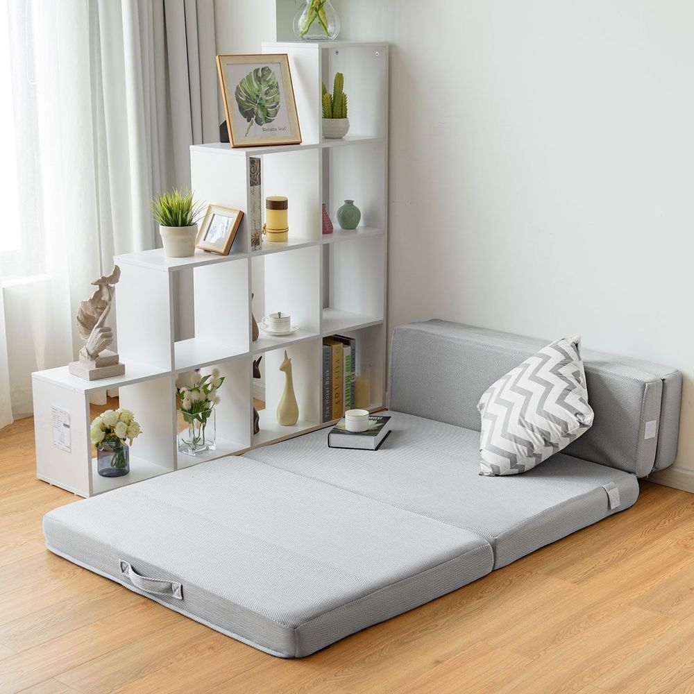 Details About Folding Mattress Sofa Bed Futon Couch Lounger Foam