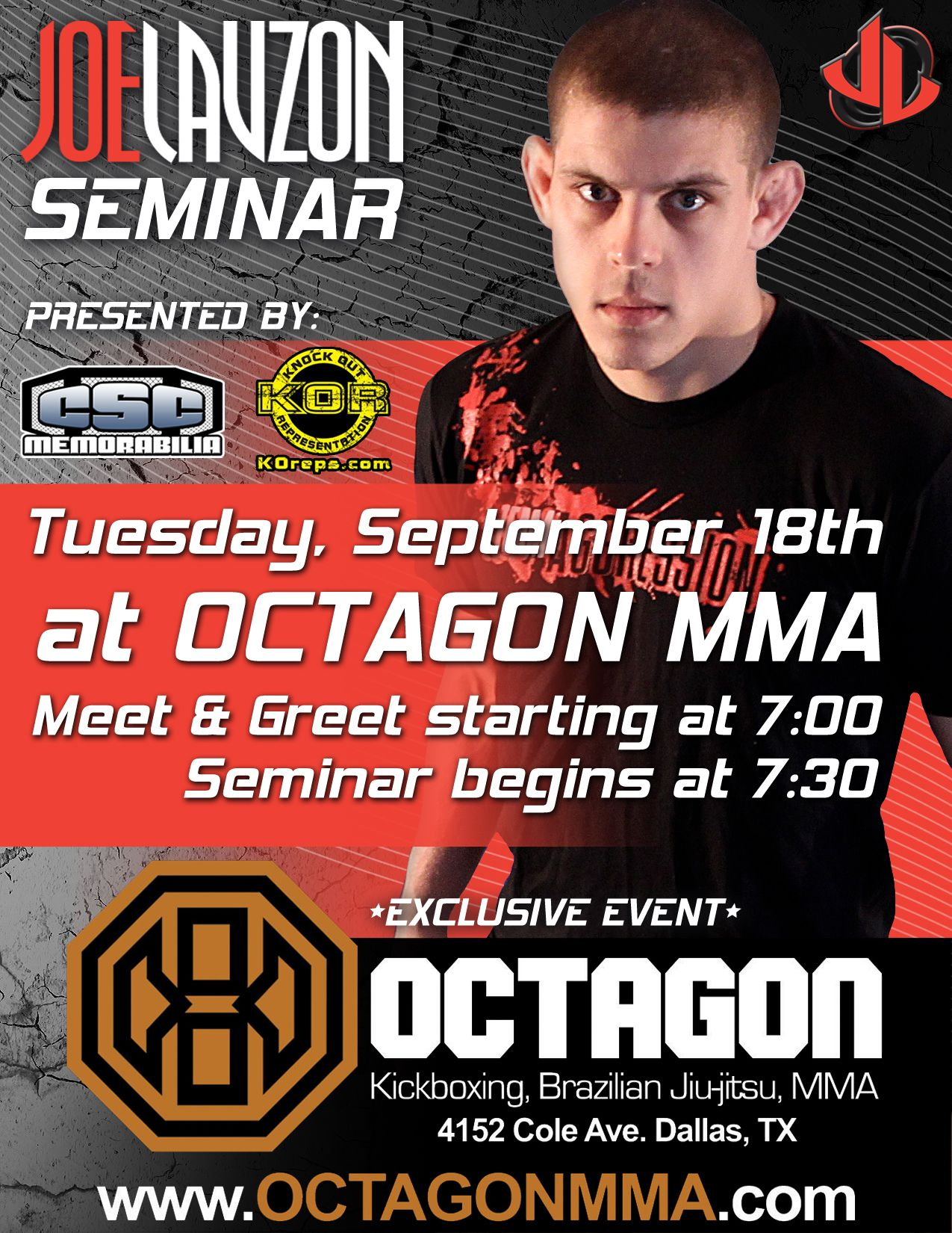 Joe Lauzon Mma Seminar Flyer Design Ufc  Mma Graphic Design