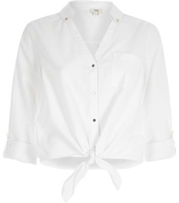 0960431f River Island Womens White tie knot front shirt | Products | White ...