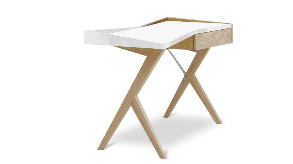 Bureau laque blanc pied bois geometry mobiliermoss partiel