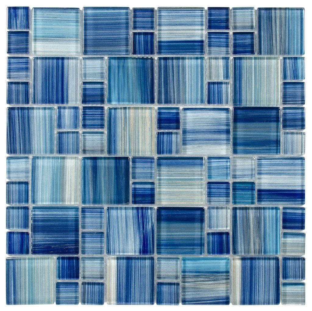 Glass Mosaic Tile Aquarella Blue | Shower bathroom, Glass mosaic ...
