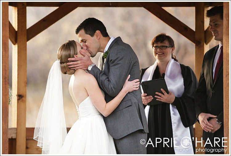 First Kiss At Wedding Ceremony Chatfield Botanic