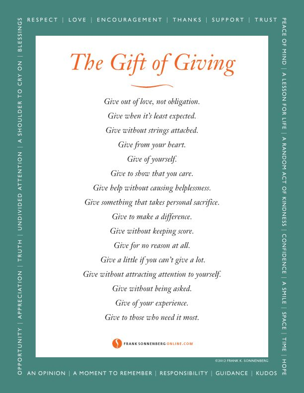 The Gift of Giving | Values to Live By | www ...