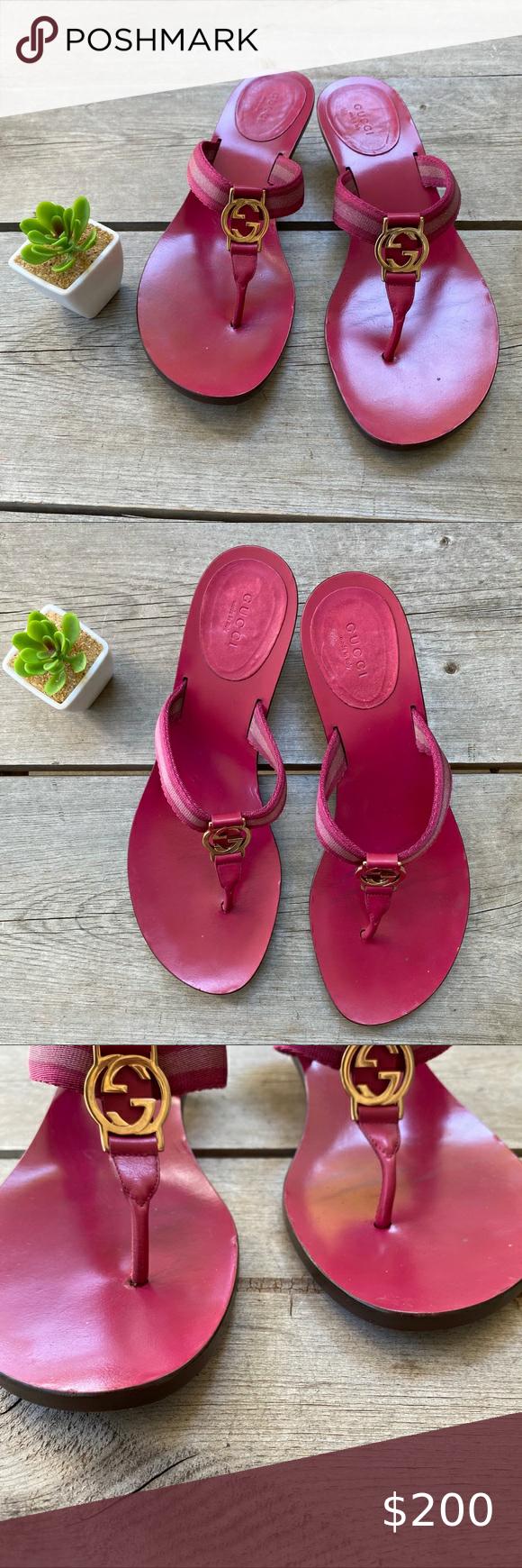 Gucci Pink Gold Flip Flops Kitten Heel In 2020 Gold Flip Flops Kitten Heels Pink Sandals