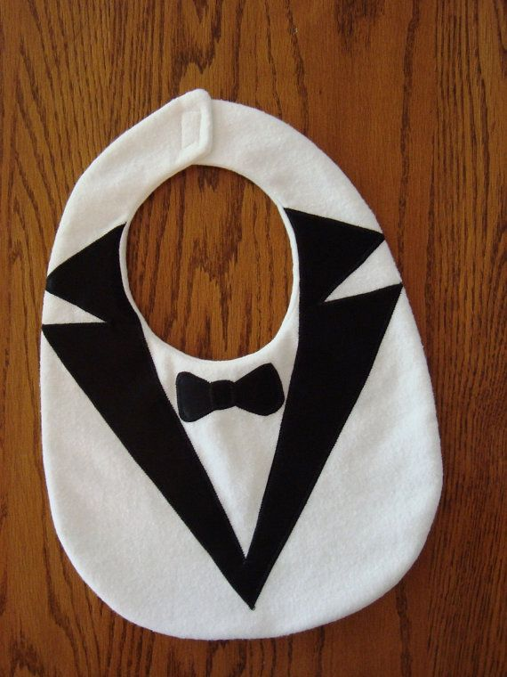 Items similar to BABY tuxedo bib with satin lapels & bowtie, white flannel on Etsy
