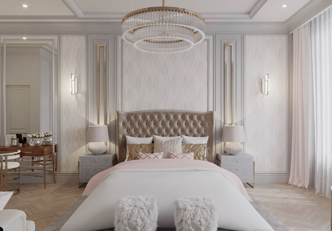 Cozy White And Beige Luxury Bedroom Decor With Tufted Beige Velvet Bed White Bedroom Decor Luxurious Bedrooms Elegant Bedroom White luxury room pictures