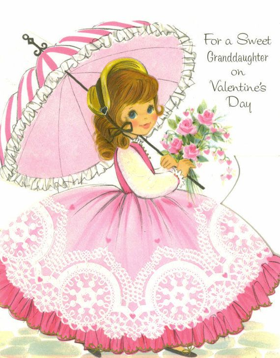Vintage Valentine Card UNUSED For Granddaughter Pink Parasol – Granddaughter Valentine Card