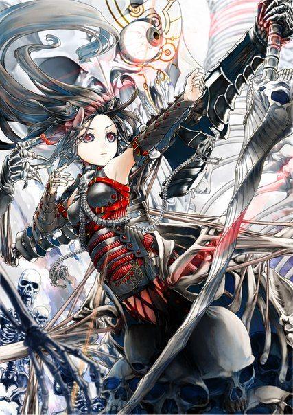 Anime Original Girl Bow Arrow Pigeon Japanese Dress Katana Weapon