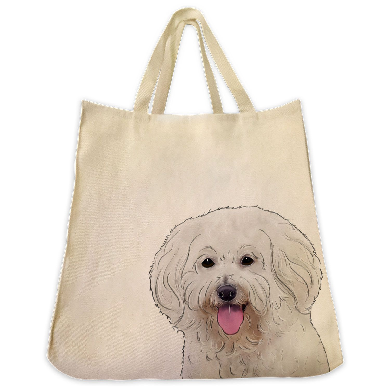 Bichon Frise Dog Extra Large Cotton Tote Bag Dog tote
