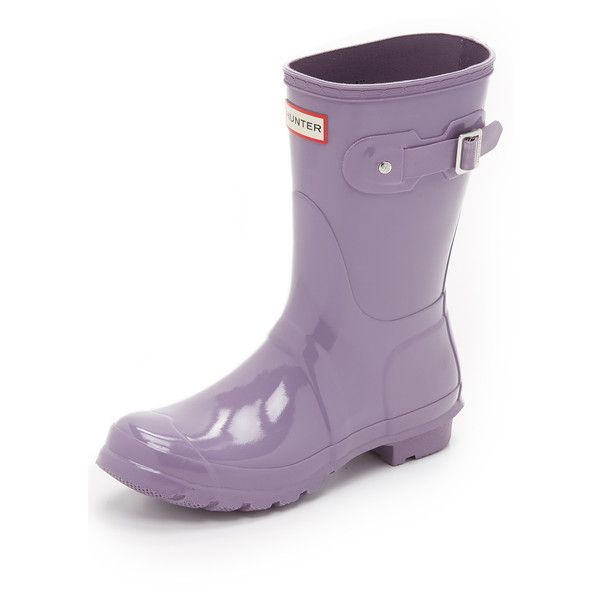 cb99e7d72 Hunter Boots Original Short Gloss Boots ($140) ❤ liked on Polyvore  featuring shoes, boots, thundercloud, short rain boots, lined rubber boots,  buckle rain ...