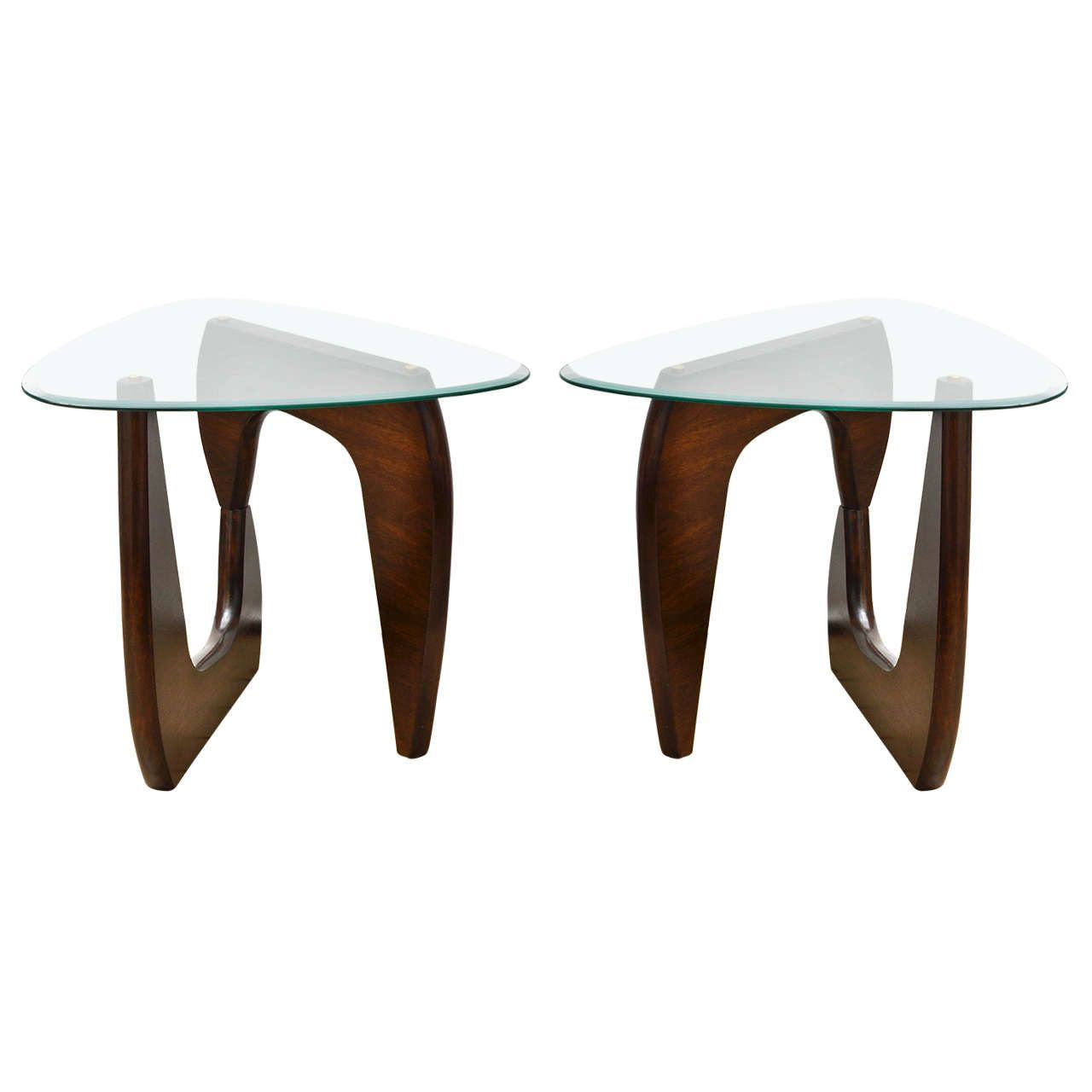 Bartisch Rustikal Pair Of Wood Base Glass Triangular Top Tables In The Style Of