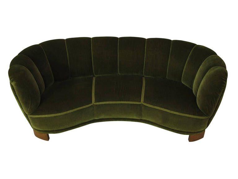 1940s Scandinavian Deco Green Mohair Sofa