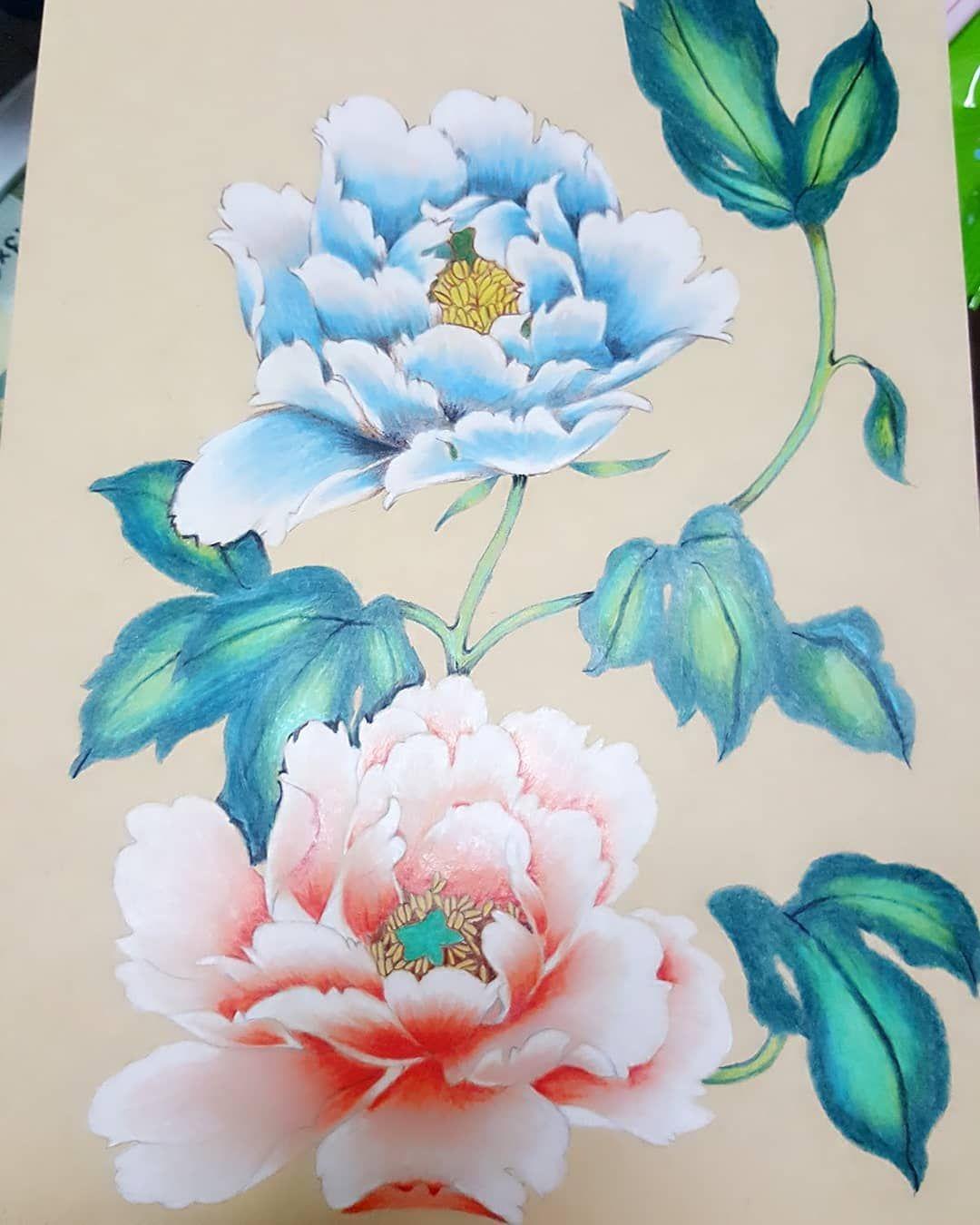 instagram 上的 陳怡靜 第一次色鉛筆畫作品 牡丹花2 牡丹 花 花 絵