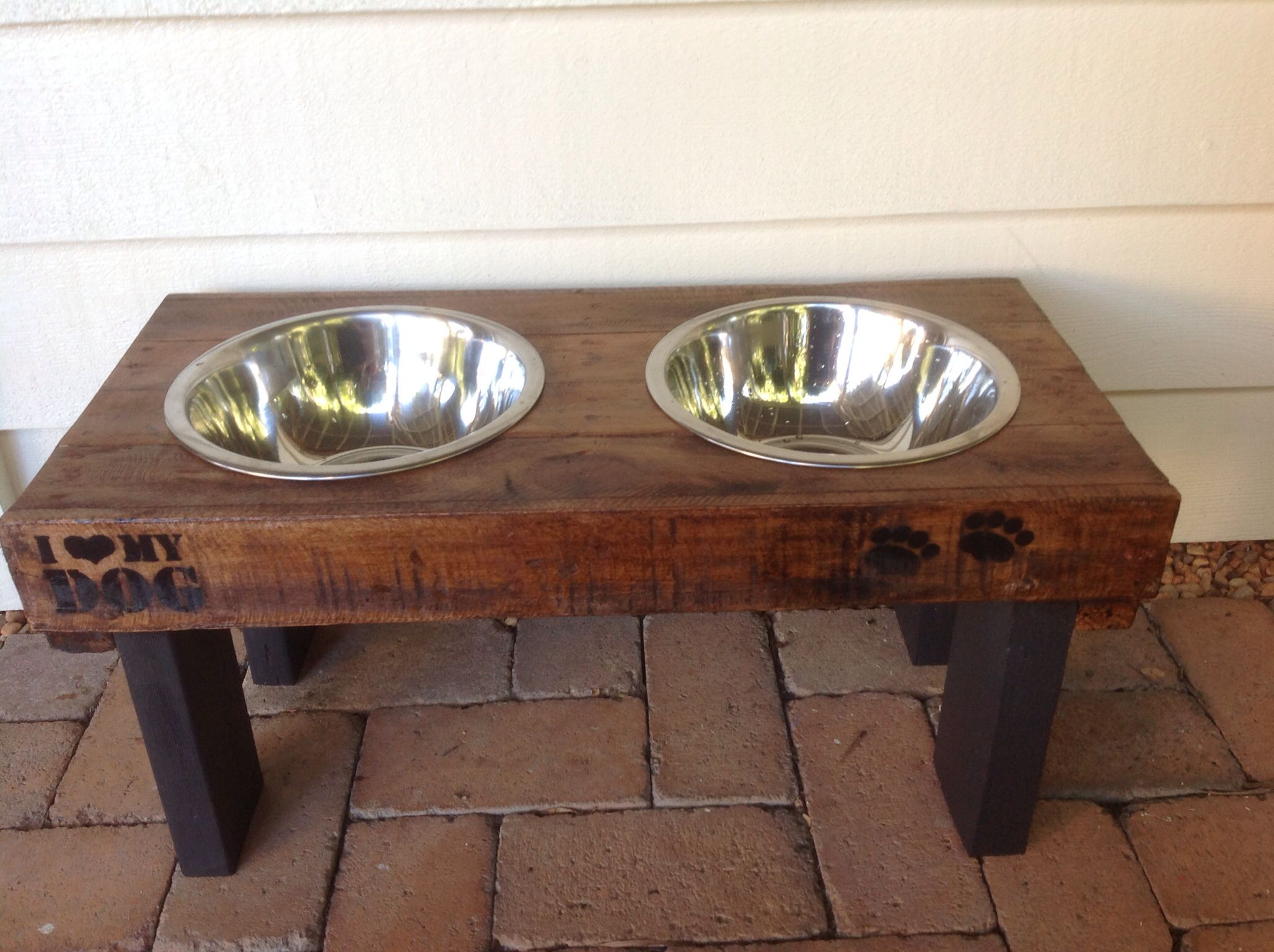 Pet feeding station with stainless steel bowls Made from pallet