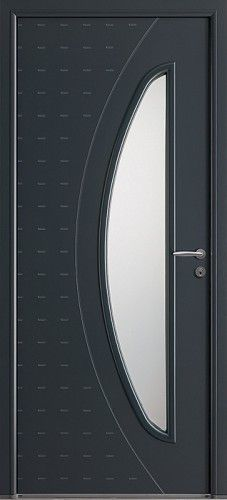 Porte aluminium porte entree bel 39 m contemporaine poignee rosace gris deco bel 39 m mi vitree - Bel m porte d entree ...