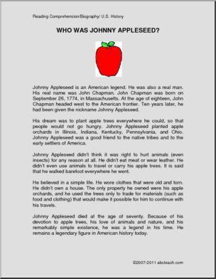 Reading Comprehension - Johnny Appleseed - Printable ...