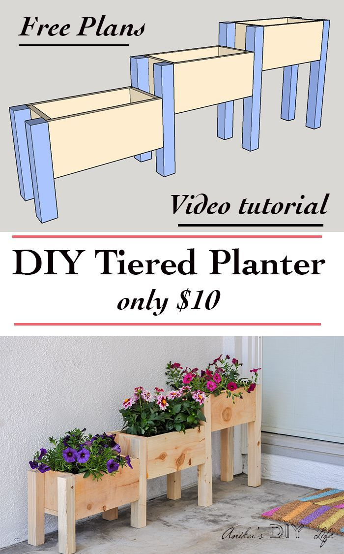 Easy DIY Tiered planter for $10! is part of Planter box plans, Tiered planter, Backyard, Diy garden, Outdoor projects, Planter boxes - How to make a tiered planter box  Build a DIY tiered planter box with only $10 in lumber and under 2 hours  Great beginner project for your yard!