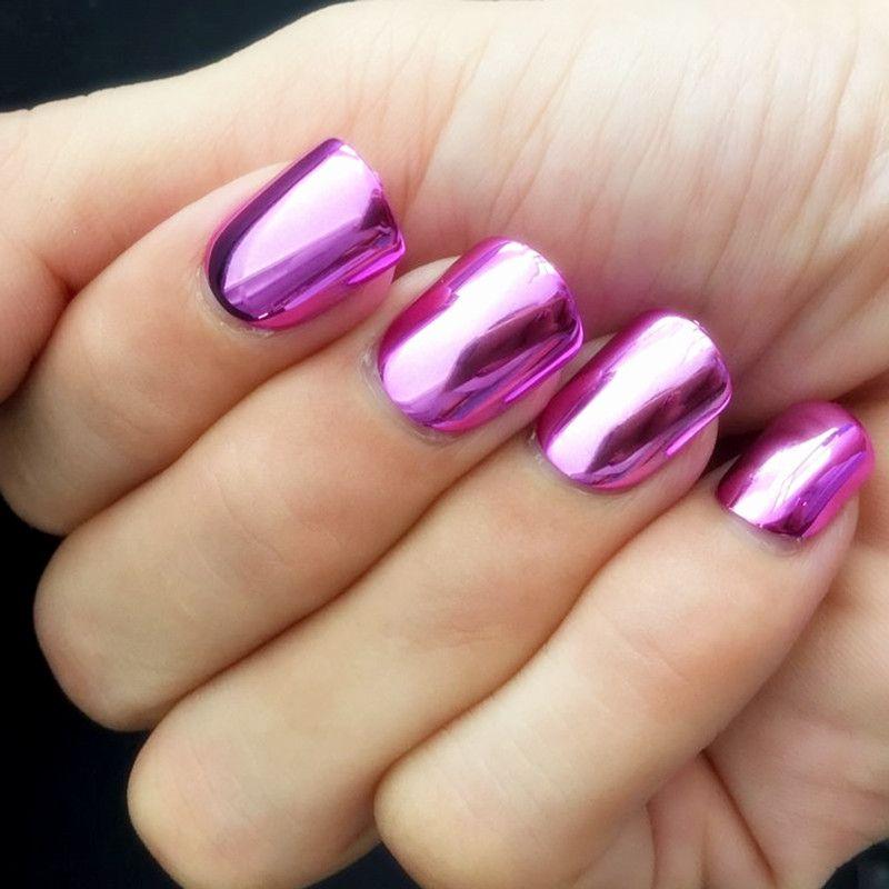 24Pcs Metal Mirror False Fake Nails Purple Red Fashion Acrylic Nails ...