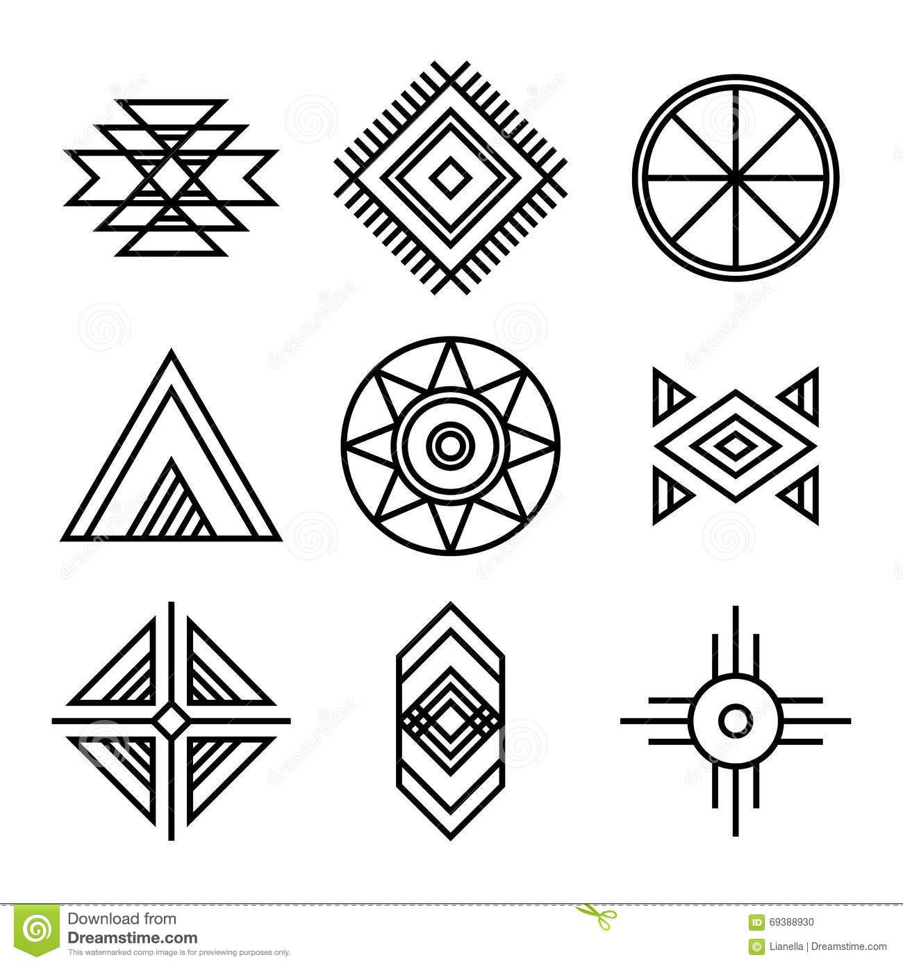 Photo about Native American Indians Tribal Symbols Set