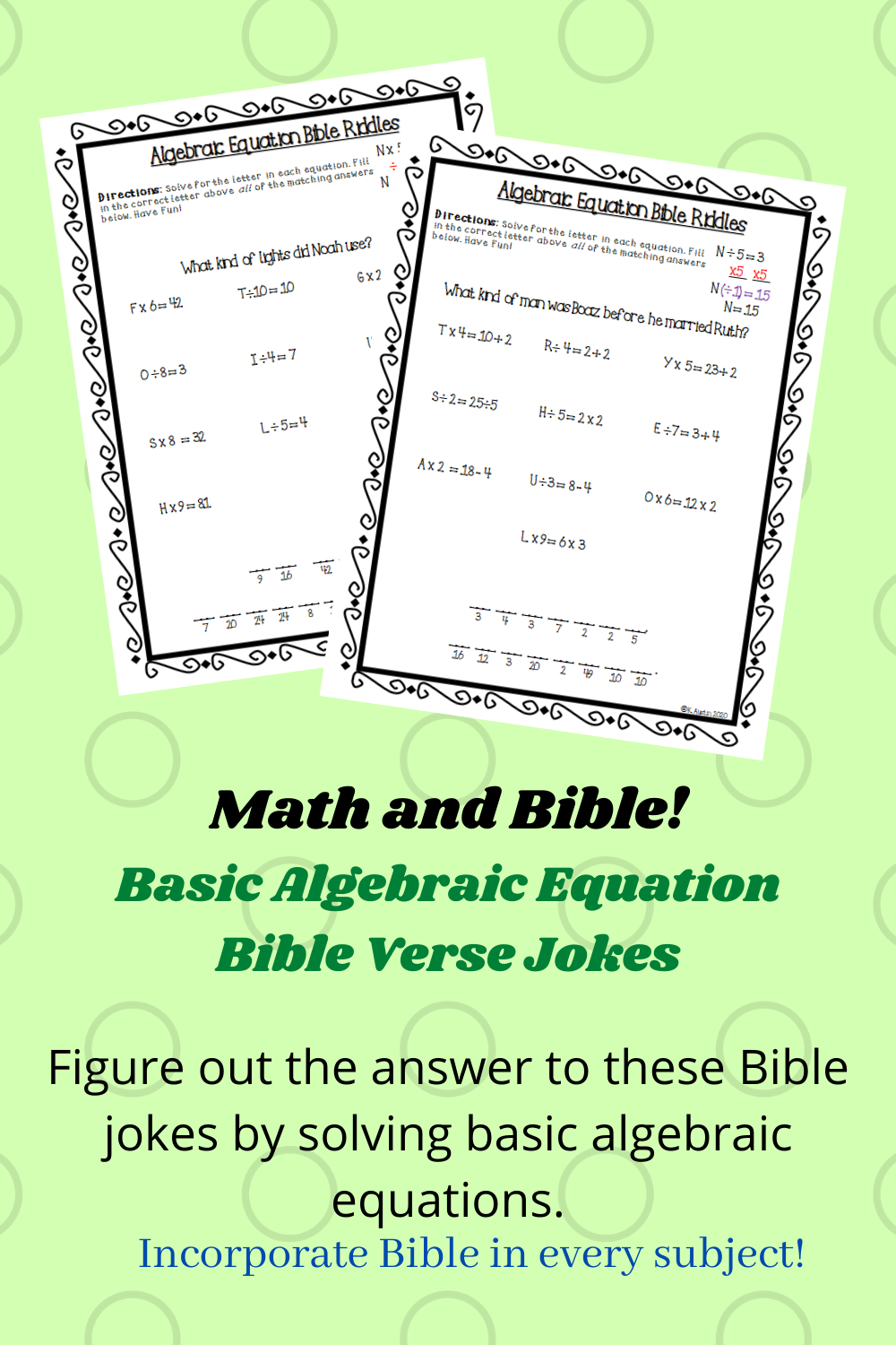 Algebra and Bible fun! Solve these algebraic equations to