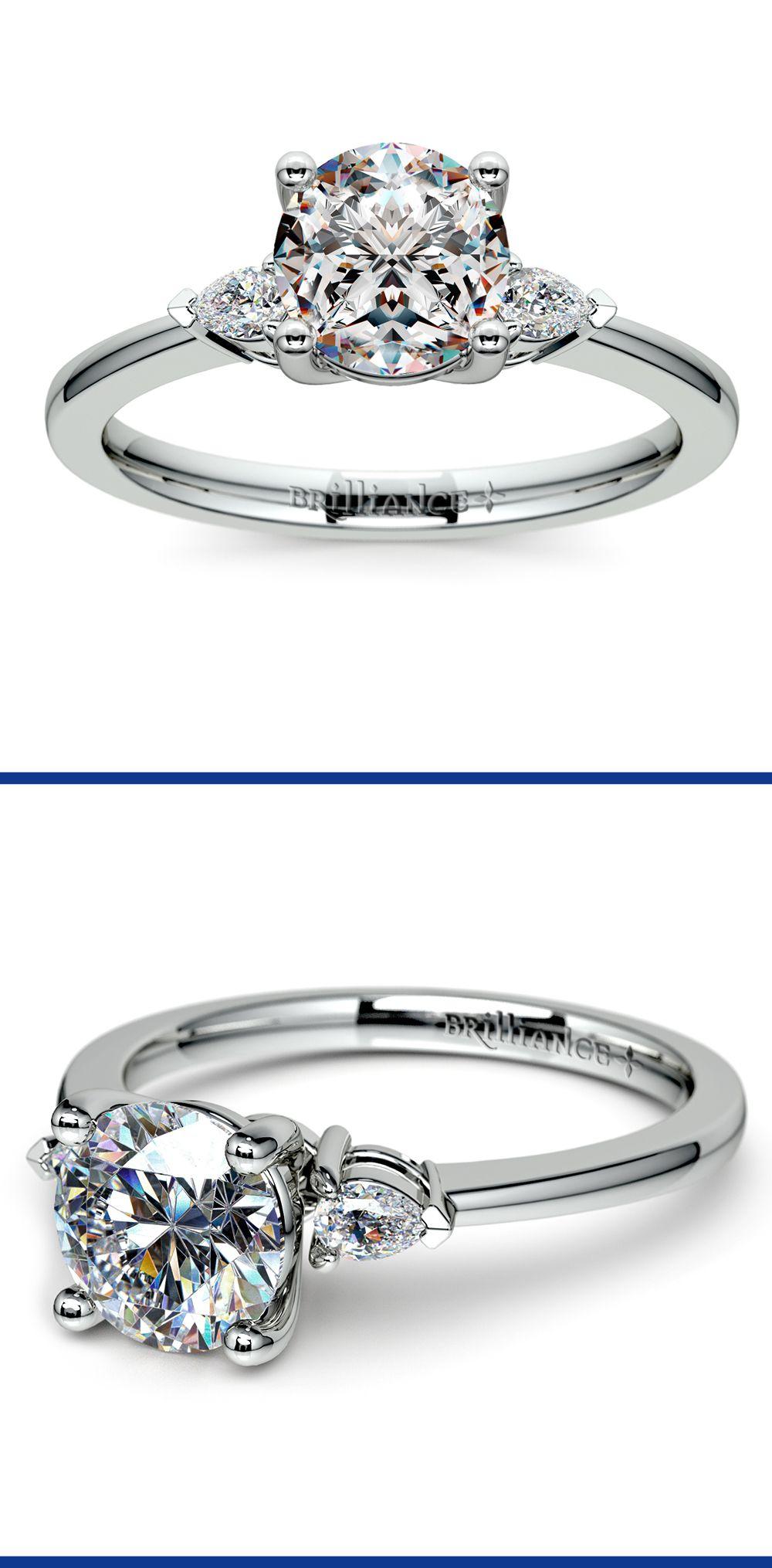 Pear diamond engagement ring in platinum ctw pear
