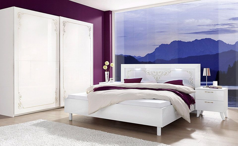 Schlafzimmer mit Bett 180 x 200 cm weiss mit Siebdruck und - schlafzimmer komplett weiß