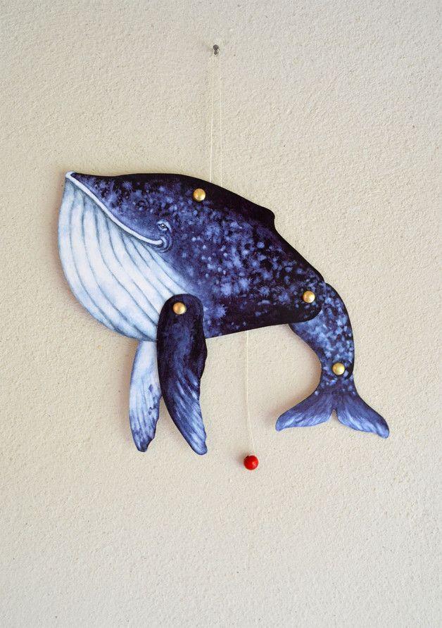 Maritime Deko für das Kinderzimmer: Illustrierter Wal als Hampelmann-Puppe / nautical home decor: whale jumping jack puppet made by Adams Braut via DaWanda.com