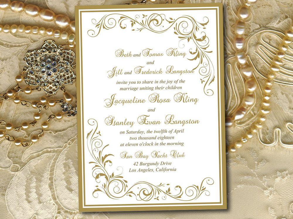 DIY Wedding Invitation Template - Antique Gold Invitation \
