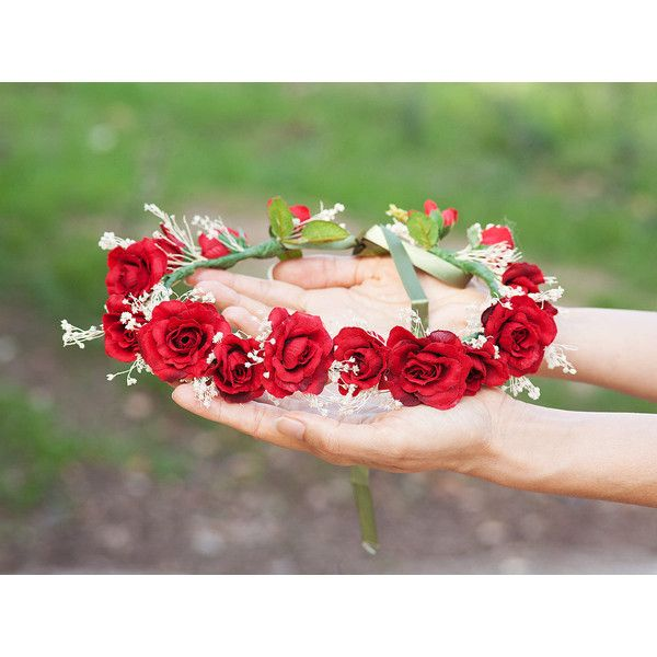 Crown tiara red roses. Wedding and ceremony. Hair accessories women. ($57) ❤ liked on Polyvore featuring accessories, hair accessories, rose flower crown, bridal floral crown, crown tiara, bridal crown and floral garland #crowntiara