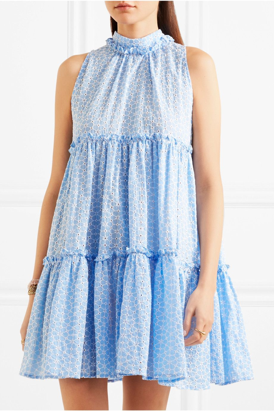Erica Ruffled Broderie Anglaise Cotton Mini Dress - Light blue Lisa Marie Fernandez Discount Choice DaF3h42x46
