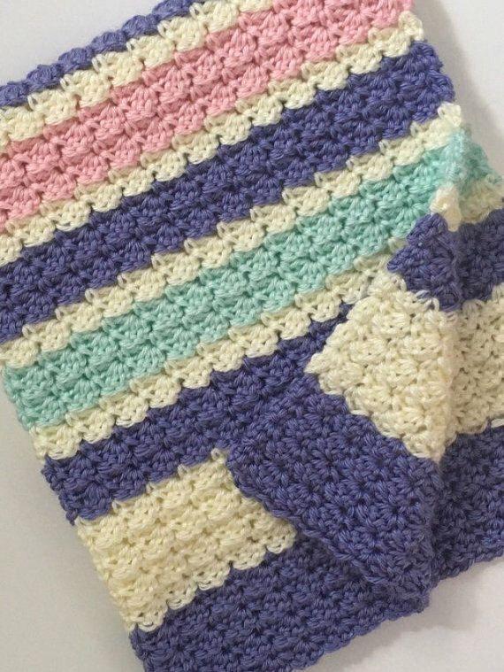 Crochet Multi Color Baby Blanket Pattern, wattle stitch | Crochet ...