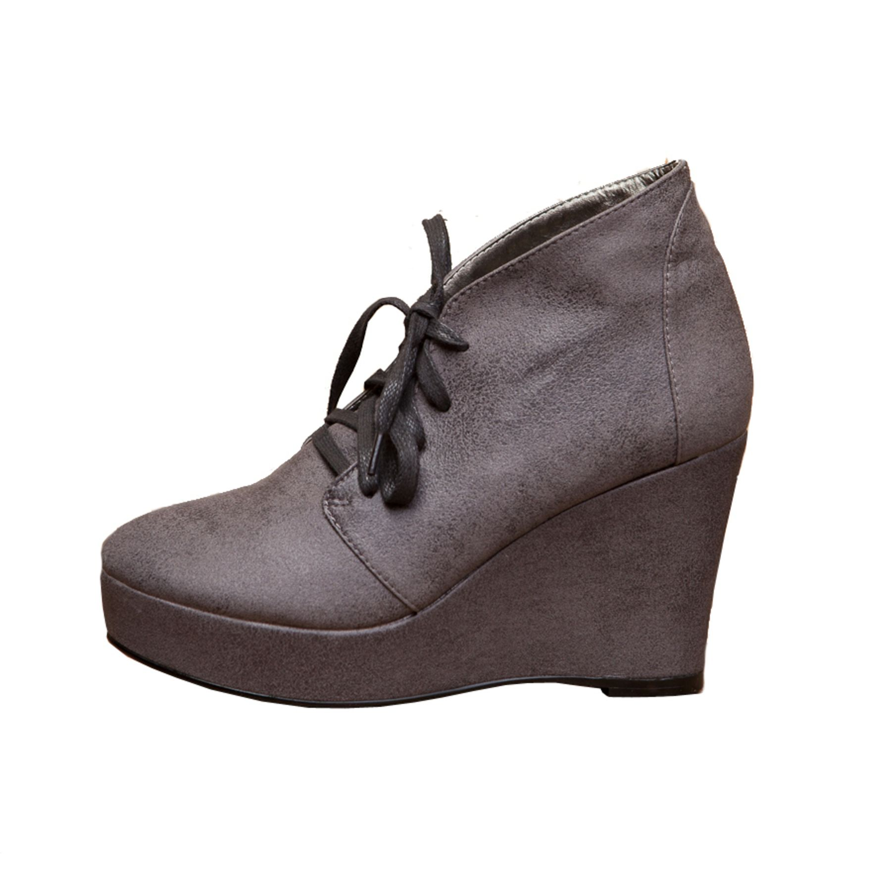 Designed by Cri de Coeur, exclusively for ecoCLOSET. Ramona Lace-up Wedge Bootie