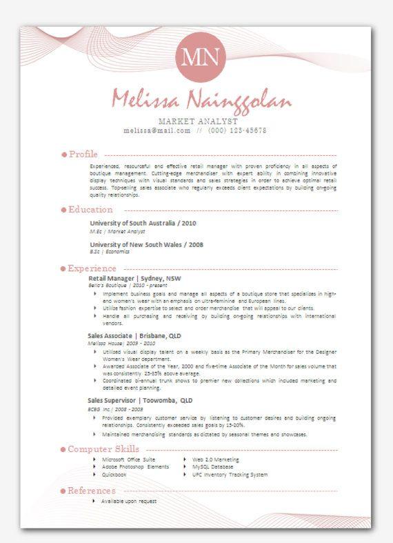 Modern Microsoft Word Resume Template Melissa By Inkpower 12 00 Microsoft Word Resume Template Resume Template Resume Template Word